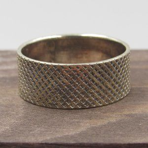 Size 8.25 Sterling Silver Rustic Textured Band